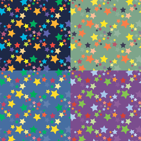 Set of four seamless geometric patterns with chaotic repeating multicolored stars