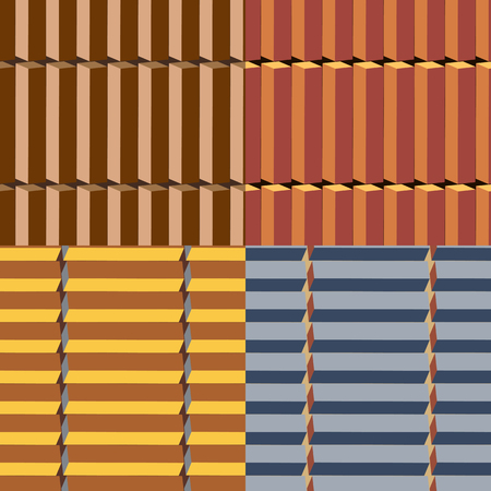Set of seamless vector patterns in different colors with geometric elements