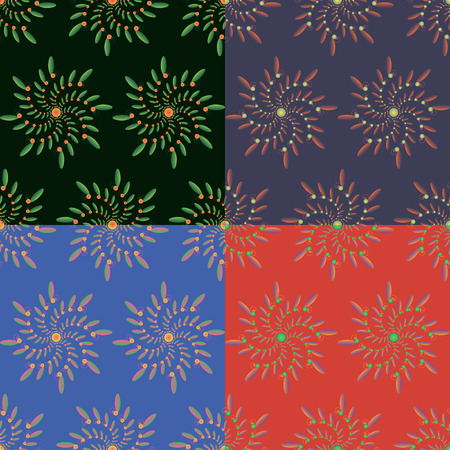 Set of four geometric seamless patterns in different color styles with vegetable fractal elements