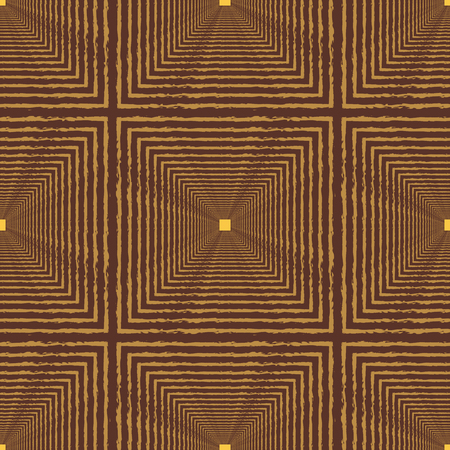 Seamless abstract pattern with squares with distorted lines with different proportional sizes of metallic coloring