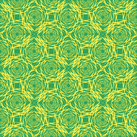 Seamless abstract pattern with hexagons with distorted lines with different proportional sizes yellow on a green background