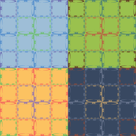 Seamless abstract pattern with squares from the curves of fractals in four different color variants