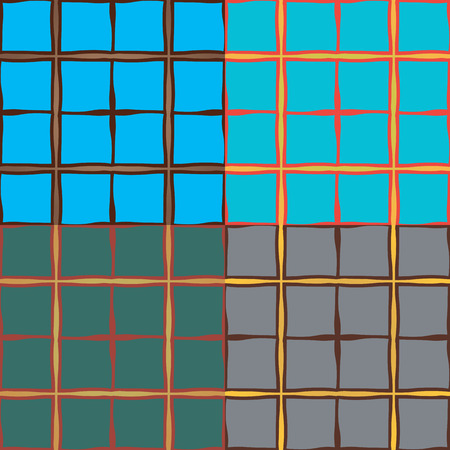 Seamless abstract pattern with cells with curves in four different color variants