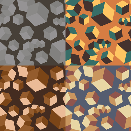 Seamless abstract pattern with cubes 3d different size in four different color variants