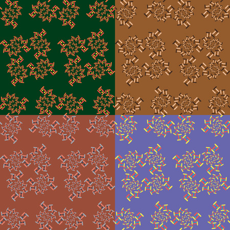 Seamless abstract pattern with fractal objects in four different color variants