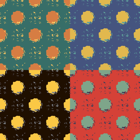 Seamless abstract pattern with chaotic irregular curved objects in four different color variants Illustration