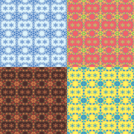 Seamless abstract pattern with figures similar to stylized snowflakes in four different color variants