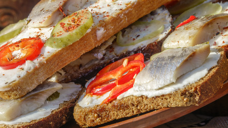 Sandwiches with black bread, herring and vegetables on a plate at a picnic close up