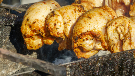 Meat on a skewer is grilled on a picnic closeup