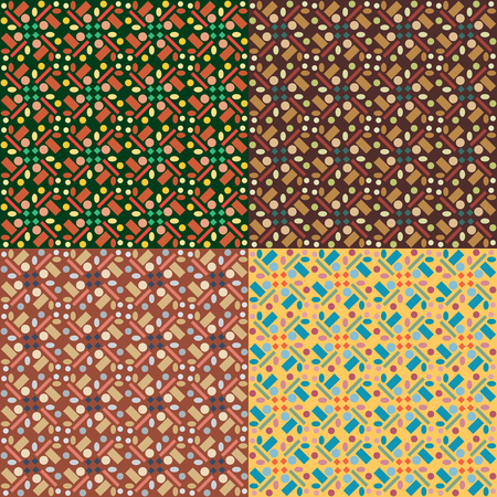 Set of four seamless vector patterns in different colors with geometric regular figures.