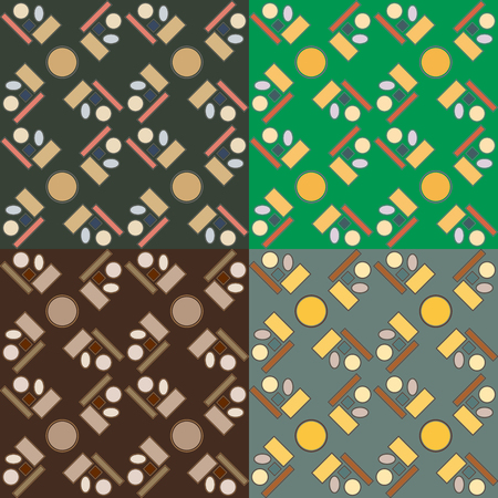 Set of four seamless vector patterns in different colors with geometric regular figures