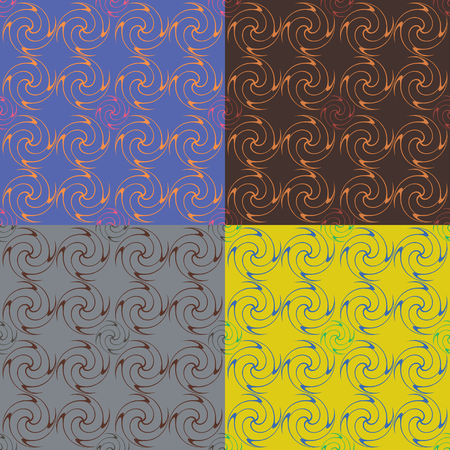 Set of four seamless vector patterns in different colors with geometric curved figures Illustration