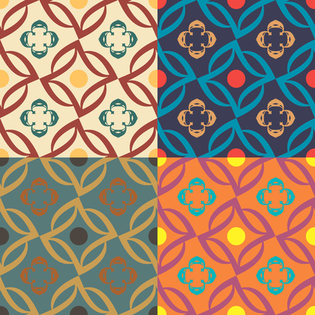 Set of four seamless vector patterns in different colors with plant elements