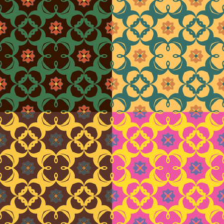Set of four seamless vector patterns in different colors with plant elements. Illustration