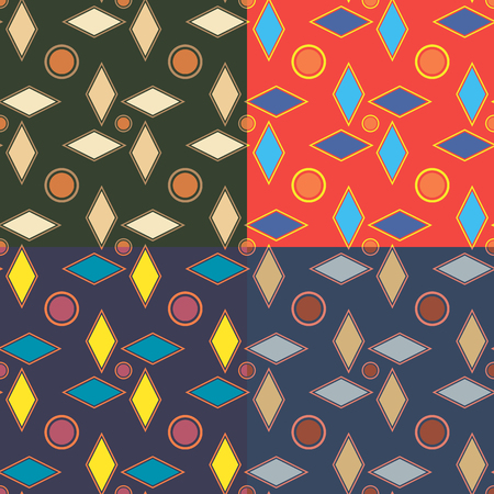 Set of geometric abstract seamless patterns in four colors Illustration