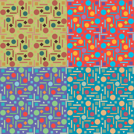 Set of geometric abstract seamless patterns in four colors