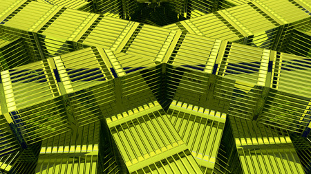 Abstract green cubic geometric futuristic background 3d rendering computer simulation 写真素材