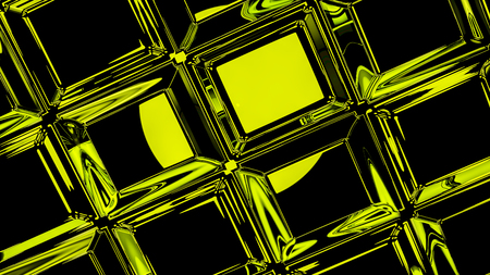 Abstract green cubic geometric futuristic background 3d rendering computer simulation Stock Photo