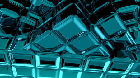 Abstract blue cubic geometric futuristic background 3d rendering computer simulation