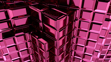 Abstract pink cubic geometric futuristic background 3d rendering computer simulation