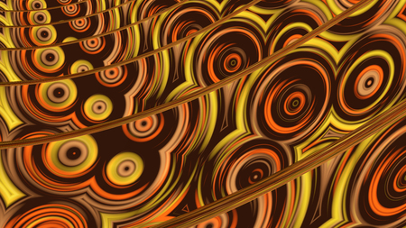 Abstract brown background with flowing wavy figures illustrations imitation glass ware 3D rendering