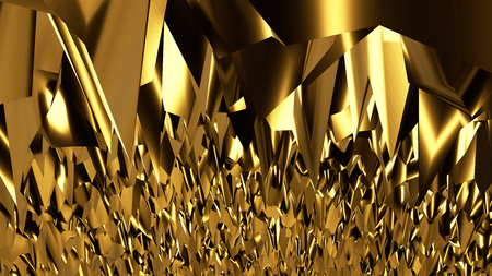 Abstract gold scene background with lighting effect 3D rendering