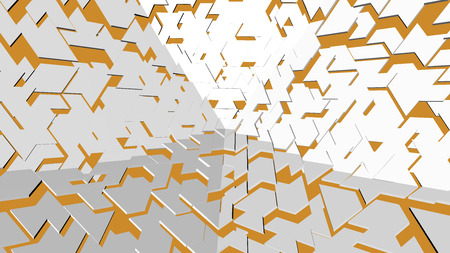Abstract white and yellow scene background with lighting effect 3D rendering