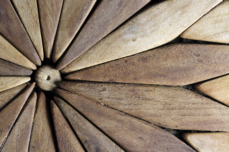 Background of old wooden plates for stand under the hot kitchen utensils close-up macro shot
