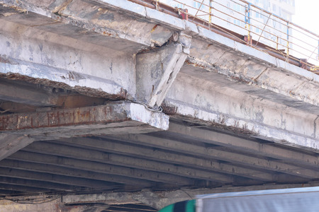 Dismantling of the old emergency Shuliavsky bridge in Kiev, Ukraine on April 3, 2019 dismantling the main supporting structures and removing the pavement of the bridge