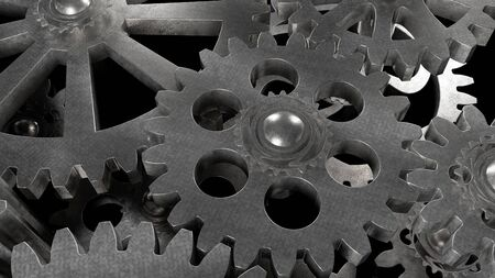 Gear metal mechanism of steel color illustration 3d render close-up with effects of light reflections 版權商用圖片