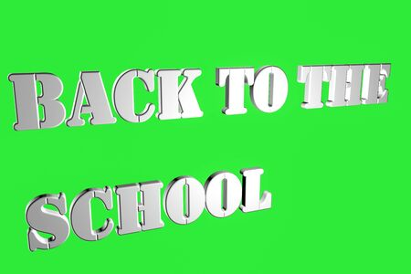 Inscriptions on a green background BACK TO THE SCHOOL white font 3D rendering illustration