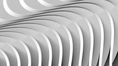 3d rendering abstract artwork in minimalism style light background in white colors with wavy lines with surface structure Imagens
