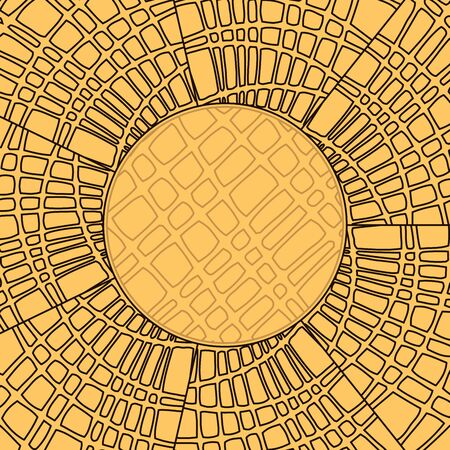 Vector illustration of an abstract yellow background from drawn uneven geometric shapes arranged radially Ilustração