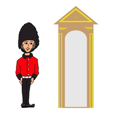 Stylized guardhouse at the entrance to the palace of the English Queen on a white background vector sketch
