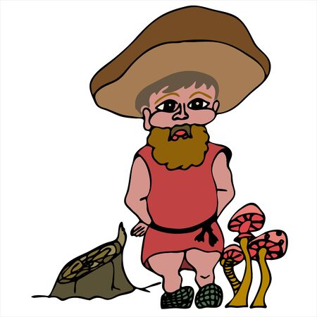 Stylized gnome forest man in a hat next to a stump and mushrooms on a white background vector drawing