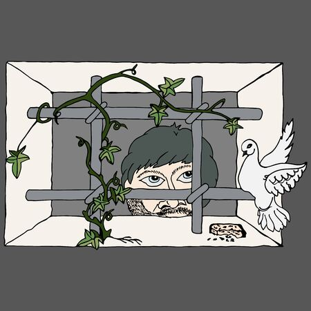 Prisoner of the prison looks out of the window with bars to freedom and feeds the white dove with bread