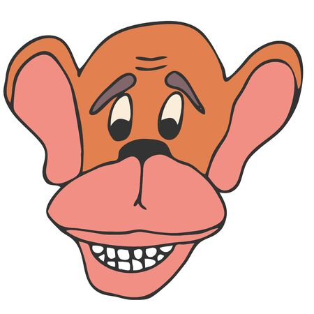 Vector hand-drawn drawing in cartoon style of a monkey head closeup on a white background