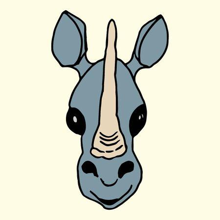 Cartoon animal rhinoceros muzzle freehand vector illustration on a light background