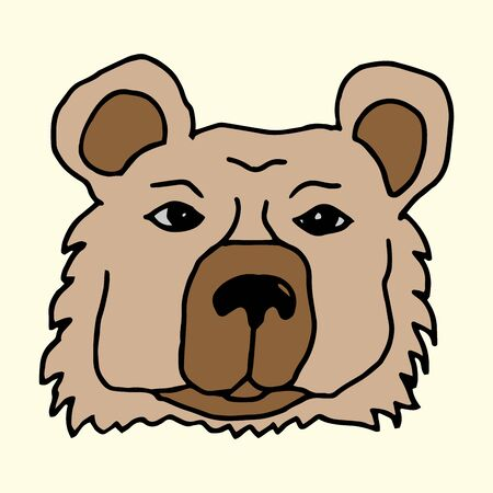 Cartoon animal vector freehand drawing of a muzzle of a brown bear on a light background