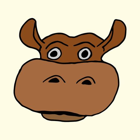 Cartoon animal vector freehand drawing of a muzzle of a hippopotamus on a light background