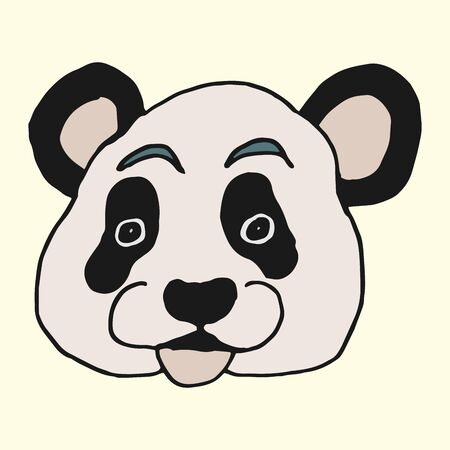 Caricature cartoon animal panda muzzle freehand vector drawing on a light background