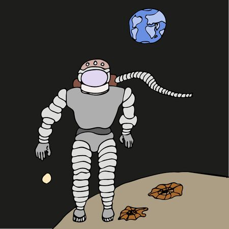 Humorous caricature vector freehand drawing on a profession astronaut in a spacesuit on another planet on a black space background