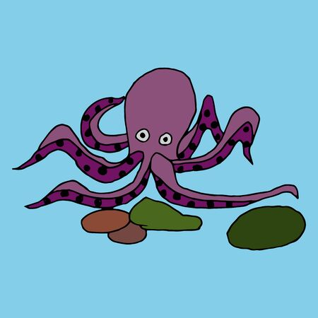Humorous cartoon vector freehand drawing on sea animals sea octopus on a blue background Çizim