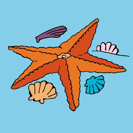 Humorous cartoon vector freehand drawing on sea animals starfish on a blue background Çizim