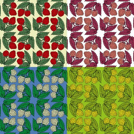Seamless fruit background in four different colors, freehand drawing, fabric print, raspberry screen saver