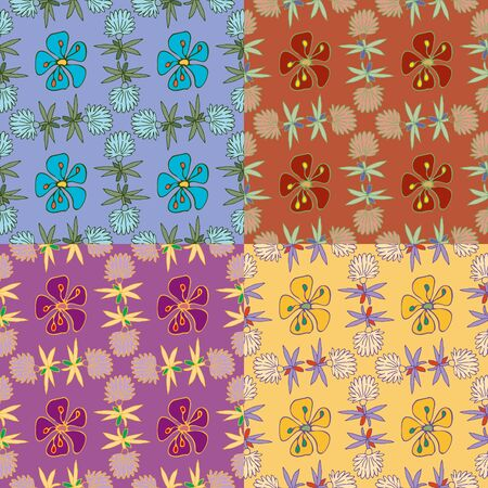 Seamless floral pattern of hand-drawn stylized flowers in four different unusual color palettes, high resolution Illustration