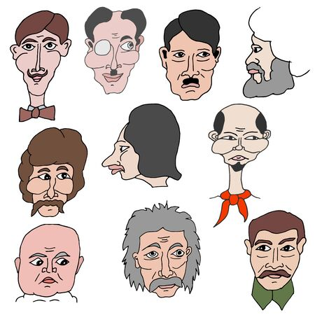 Humorous cartoon vector freehand drawing of characteristic portraits of famous historical figures of Stalin, Lenin, Marx, Hitler and others on a white background