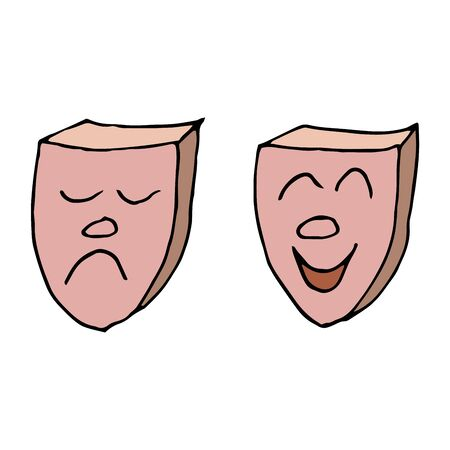 Humorous cartoon vector freehand drawing of characteristic images of theater masks