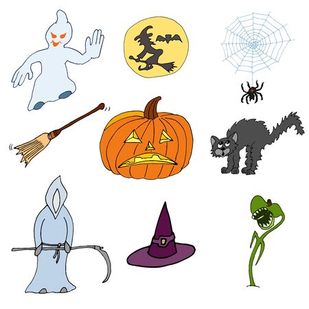 Set of nine vector Halloween hand-drawn icons in cartoon style on a white background