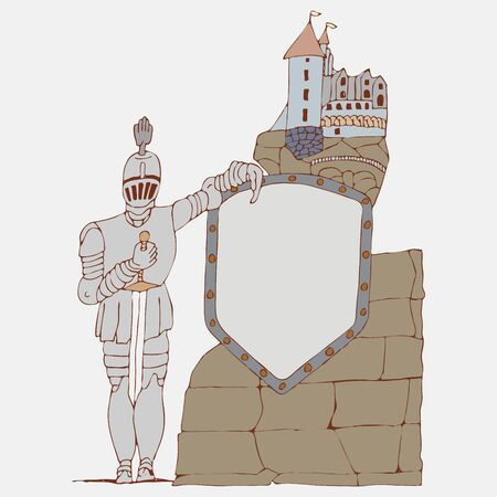 Medieval knight with a sword and shield on the background of an ancient stylized castle with place for text, cartoon freehand vector drawing Çizim